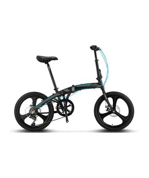 """Bicicleta Mosso Marine 2D-7V-12- pliabila cadru aluminiu roata 20"""" culoare negru/albastru"""