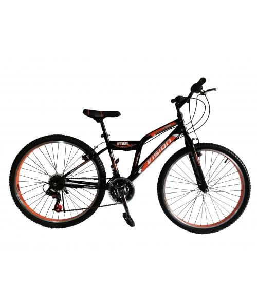 """Bicicleta MTB Vision Steel Man Culoare Negru/Portocaliu Roata 24"""" Otel"""