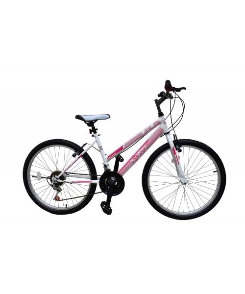"Bicicleta MTB Copii TEC Lady culoare alb/roz roata 24"" Otel"