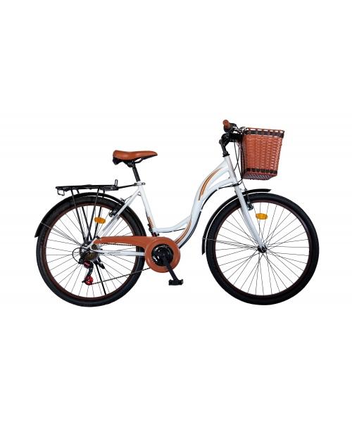 """Bicicleta City Vision Holiday , Culoare Alb/Maro Roata 26"""" Otel"""