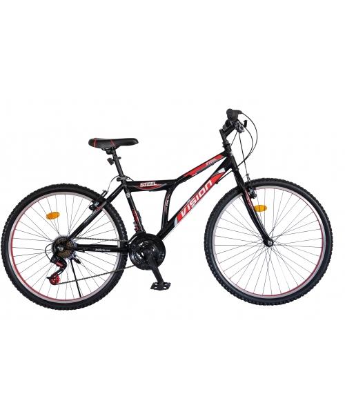 """Bicicleta MTB Vision Steel Man Culoare Negru/Rosu Roata 26"""" Otel"""