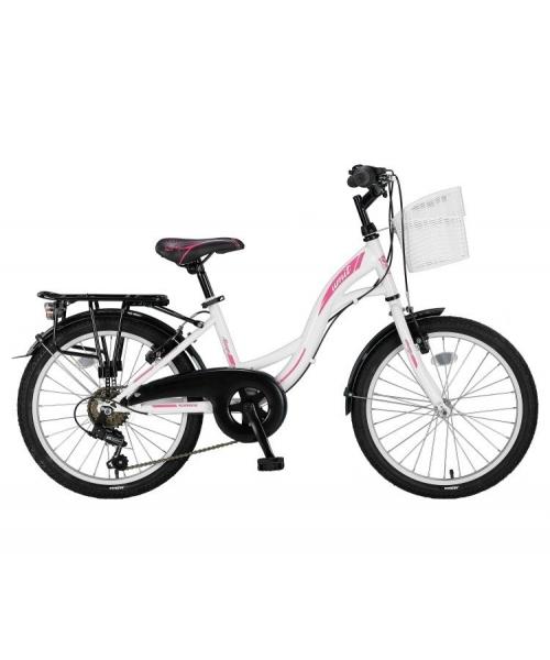 "Bicicleta city Umit Alanya culoare alb/roz roata 20"" cadru otel"