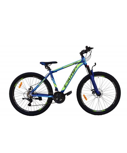 """Bicicleta MTB Camp XC 4.0, roata 26"""", aluminiu, frana mecanica pe disc, culoare albastru/galben, cadru 20"""