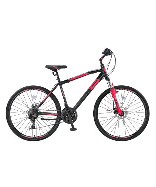 """Bicicleta Trekking Umit Quebec -M -2D-21-SHM, Roata 28"""", Otel , Cadru 18"""" 460mm, Culoare negru/rosu"""