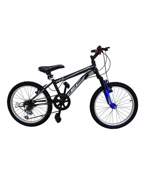 Bicicleta Tec Crazy GT, suspensie fata, culoare negru/albastru, roata 20, cadru otel