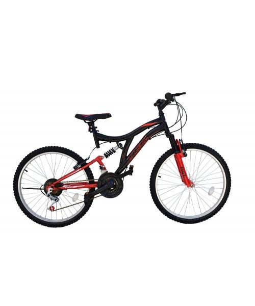 Bicicleta MTB Tec Black, full suspension, culoare negru/rosu, roata 24, cadru otel