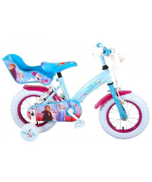 Bicicleta pentru copii Disney Frozen 2 - Fete - 12 inch - Albastru / Violet - 2 frane de mana culoare Albastru