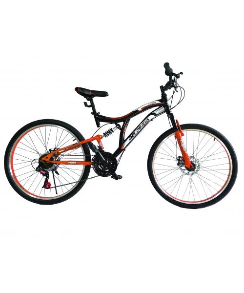 """Bicicleta MTB Full Suspensie Vision Kings 2D Culoare Negru/Portocaliu Roata 24"""" Otel"""