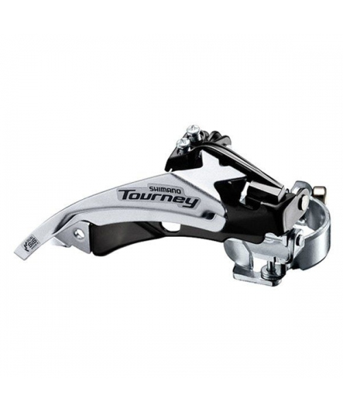Schimbator fata Shimano Tourney Fd-Ty500-Ts3 triplu pentru 6/7 viteze pe spate Top Swing tragere dubla colier 34.9Mm (Incl. Adaptor 31.8Mm & 28.6Mm), Unghi Cs 63-66 pentru 42T, Chainline 47.5/50mm