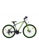 """Bicicleta MTB Camp XC 4.0, roata 26"""", aluminiu, frana mecanica pe disc, culoare gri/galben, cadru 20"""