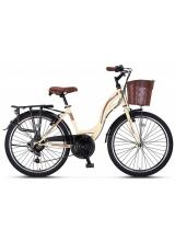 "Bicicleta City Umit Alanya, culoare Crem/Maro, roata 26"", Otel"