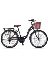 "Bicicleta City Umit Alanya, culoare Negru/Maro, roata 28"", Otel"