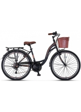 "Bicicleta City Umit Alanya, culoare Negru/Maro, roata 26"", Otel"