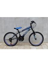 """Bicicleta MTB Vision Paradise Tiger, suspensie fata, culoare negru/albastru, roata 20"""", cadru otel"""