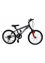 Bicicleta Tec Crazy GT, suspensie fata, culoare negru/rosu, roata 20, cadru otel