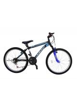 Bicicleta MTB Tec Blue, suspensie fata, culoare negru/albastru, roata 24, cadru otel