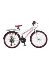 "Bicicleta MTB Dame Vision Elegance Culoare Alb/Roz Roata 26"" Otel"