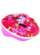 Casca de bicicleta Volare Deluxe - Flori rosii roz - 51-55 cm