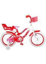 Bicicleta Volare Lovely pentru copii - Fete - 16 inch - Rosu Alb - 95 asamblat culoare Rosu/Alb