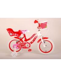 Bicicleta Volare Lovely pentru fete, 14 inch, culoare Rosu/Alb, frana de mana fata - spate