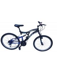 """Bicicleta MTB copii Tec Black full suspensie, roata 24"""", culoare negru/albastru"""