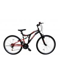 """Bicicleta MTB Tec Master full suspensie, roata 26"""", culoare Negru/Rosu"""