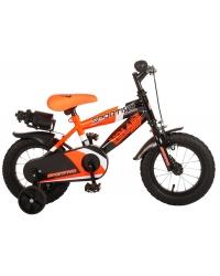 Bicicleta Volare Sportivo pentru baieti, 12 inch, culoare portocaliu-neon/negru, frana de mana + contra