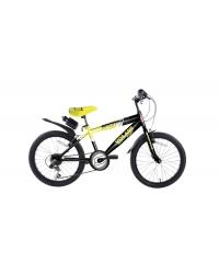 Bicicleta pentru baieti Sportivo, 20 inch, culoare negru/galben, frana de mana fata - spate