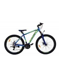 """Bicicleta MTB Camp XC 4.0, roata 26"""", aluminiu, frana mecanica pe disc, culoare albastru/galben, cadru 18''"""