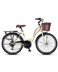 "Bicicleta City Umit Alanya, culoare Crem/Maro, roata 24"", Otel"