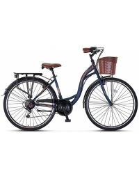 "Bicicleta City Umit Alanya, culoare Albastru/Maro, roata 24"", Otel"