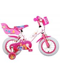 Bicicleta pentru copii Disney Princess - Fete - 12 inch - Roz - Doua frane de mana culoare Roz/Alb