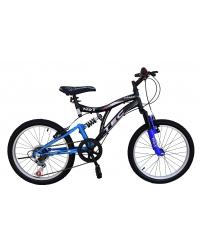 Bicicleta Tec Crazy, full suspension, culoare negru/albastru, roata 20, cadru otel