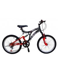 Bicicleta Tec Crazy, full suspension, culoare negru/rosu, roata 20, cadru otel