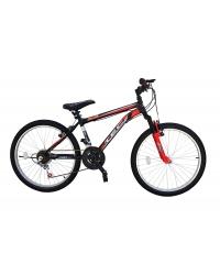 Bicicleta MTB Tec Blue, suspensie fata, culoare negru/rosu, roata 24, cadru otel
